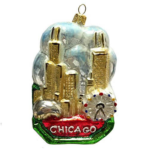 Pinnacle Peak Trading Company Chicago in The Clouds Landscape Cityscape Polish Glass Christmas Tree Ornament