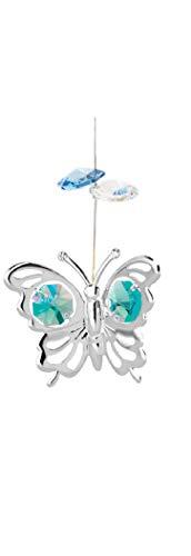 Chrome Plated Butterfly Charm Ornament w/Green Swarovski Element Crystal