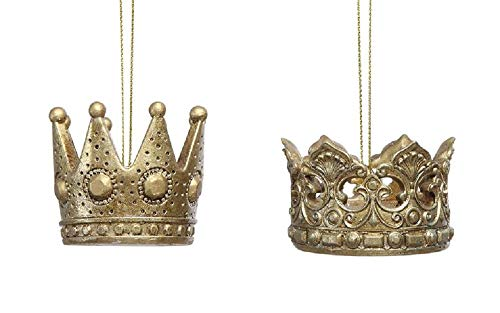 Creative Co-op King & Queen Royal Crowns Hanging Ornaments – Set of 2