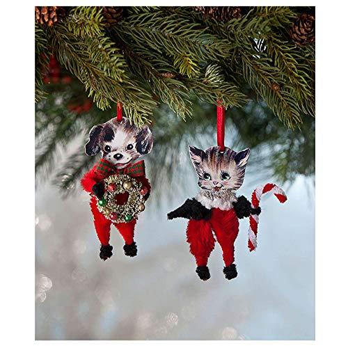 Largemouth Set/2 Bethany Lowe Chenille Puppy Kitten Tree Ornaments