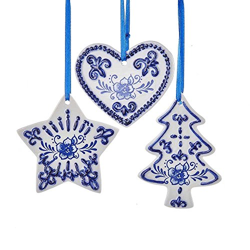 Kurt Adler Set of 3 Delft Blue Ornament Set, 3 Piece