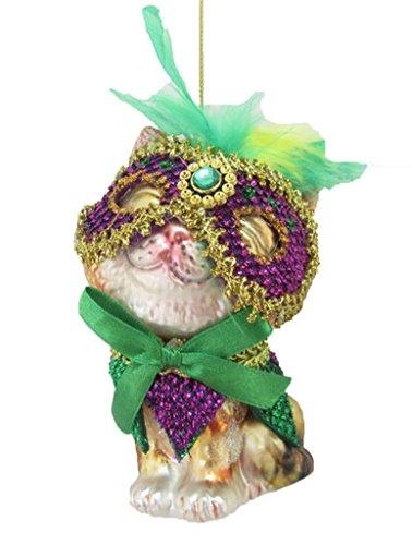 December Diamonds Glass Ornament – Tabby Cat in Mardi Gras Mask