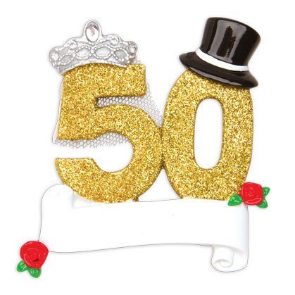 Polar X Bride and Groom 50th Wedding Anniversary Personalized Christmas Tree Ornament