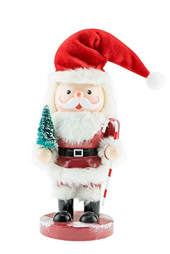 Clever Creations Animated Wooden Santa Nutcracker | Cute Santa Holding a Tiny Tree and Candy Cane While Standing on a Maroon Base | Perfect Christmas Holiday Decor | Stands at 11″ Tall