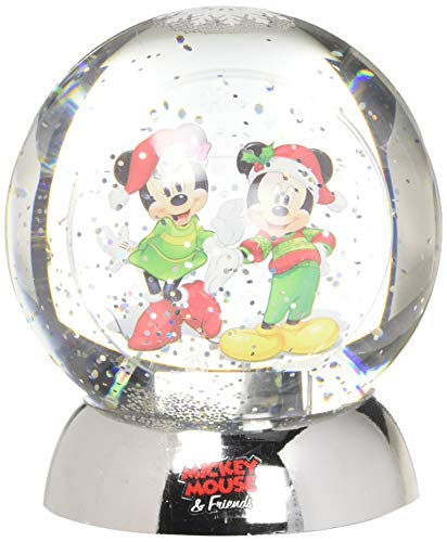 Department 56 Disney Classic Brands Mickey and Minnie Waterdazzler Waterball, 4.5″ Snowglobe, Multicolor