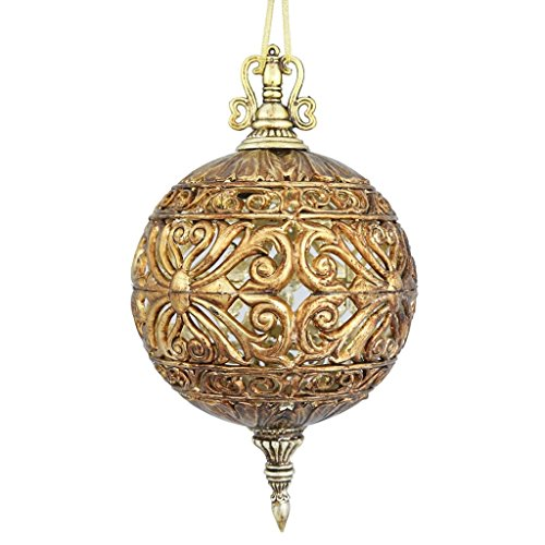 Vickerman 452240 – 10″ Antique Gold Sculptured Ball Christmas Tree Ornament (2 pack) (ON164808)