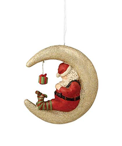 Bethany Lowe Santa Sleeping on The Moon Christmas Tree Ornament