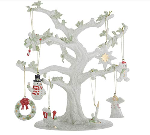 Lenox 10-1/2″ Porcelain Tree with 8 Holiday Ornaments and 24K Gold Accents Nib