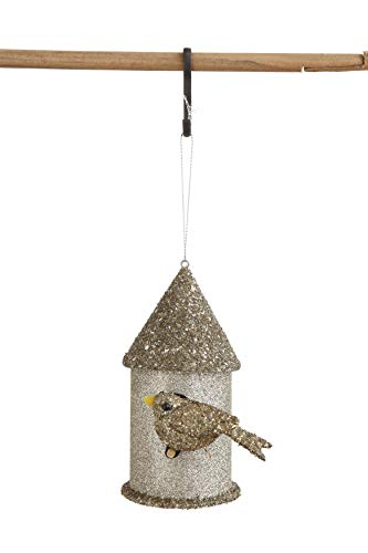 Creative Co-Op Paper Birdhouse Ornament with Glitter