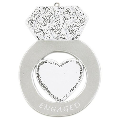 Personalized Engagement Ring Christmas Tree Ornament 2019 – Diamond Heart Glitter Engaged White Marry Me Silver Propose Romantic Couple 1st Got She Said YES Milestone Year – Free Customization