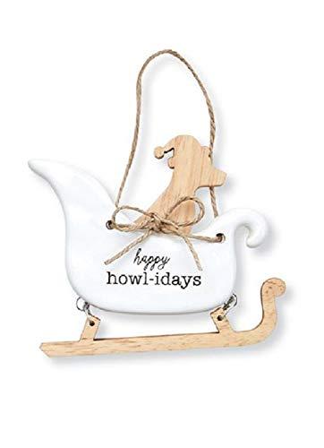 Mud Pie Dog Sleigh Happy Howl-idays Ceramic Hanging Ornament