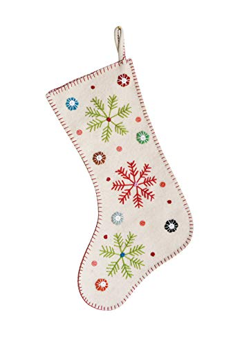 Creative Co-Op Cream Wool Felt Embroidered Stocking