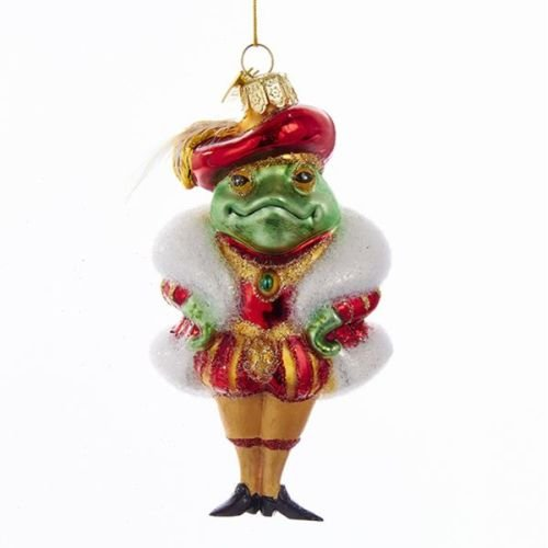 Kurt Adler 4.75″ Noble Gems Glass Frog Prince Ornament