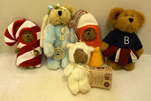 Boyds Bears Lot of Five (5) Ornaments: Blue Angel, Lil CC, Cheerleader, Baby Baakins, Baby C. Corn