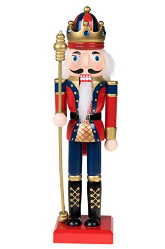 Clever Creations Traditional Wooden King Nutcracker with Crown Festive Christmas Decor | 10″ Tall Perfect for Shelves and Tables | Blue, Red, and Gold with Scepter