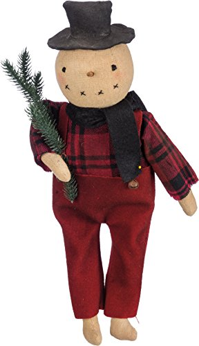 Primitives By Kathy 13.50 Inches Tall Bristle Cotton Metal Stand Up Snowman With Tree Decorative Ornament