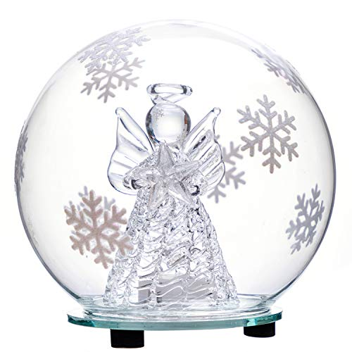 jollylife Christmas Angel Snow Globe Decorations – Color Changing LED Glass Ornament Decor