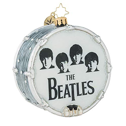 Christopher Radko Beat-le Mania Beatles Themed Glass Drum Ornament
