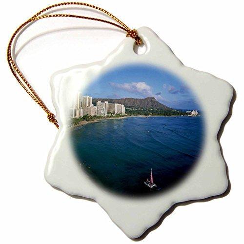 Ornaments to Paint 89586_1 Rainbow, Diamond Head, Waikiki, Oahu, Hawaii, USA – US12 DPB0359 – Douglas Peebles – Snowflake Ornament, Porcelain, 3-Inch
