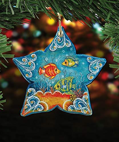 G. Debrekht Christmas Ornaments – Sea Life Wooden Christmas Tree Ornaments – Christmas Decorations for Holiday (Starfish)