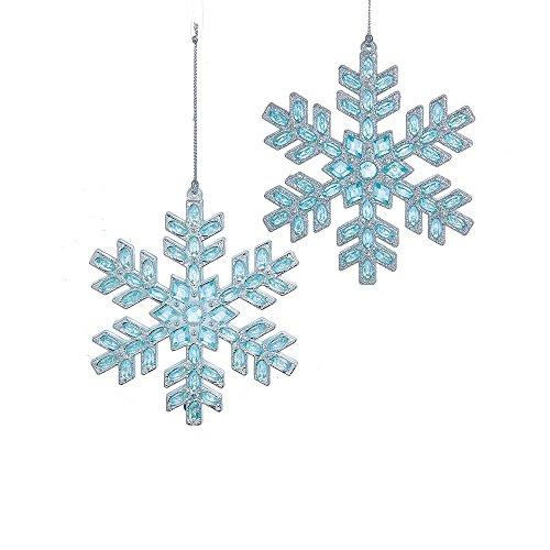 Kurt Adler 4.75-Inch Acrylic Blue and Silver Set of 2 Snowflake Ornament Set, 2 Piece