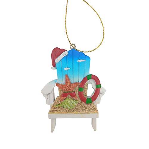 Beachcombers Resin Beach Chair Ornament, 3.35-Inch