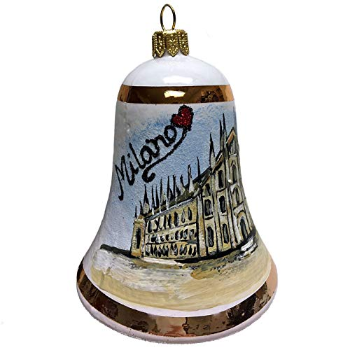 Pinnacle Peak Trading Company I Love Milano Bell Polish Glass Christmas Tree Ornament Milan Italy Travel