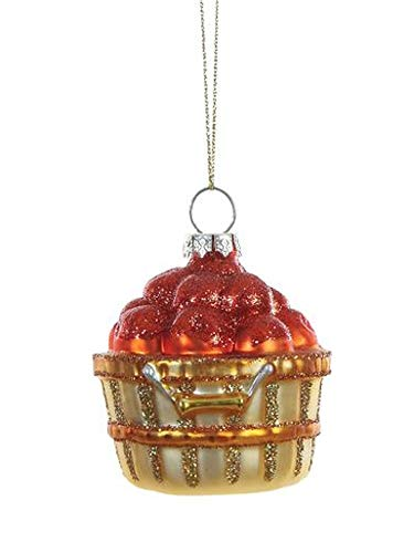 Creative Co-op Bushel of Apples Hand Painted Glass Hanging Ornament