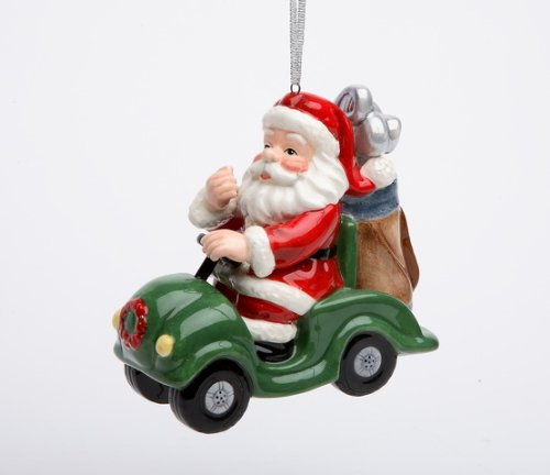 Appletree Design Golf Cart Santa Ornament, 3-5/8-Inch Tall, Includes String for Hanging