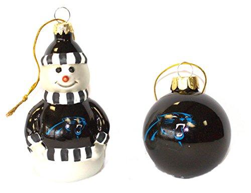 NFL Carolina Panthers Snowman and Ball Mini Blown Glass Ornaments