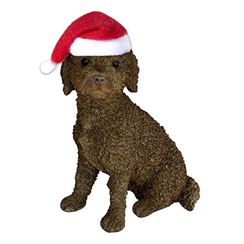 Sandicast Brown Labradoodle with Santa Hat Christmas Ornament