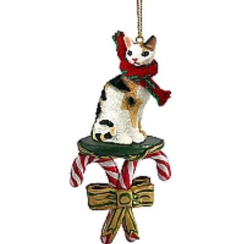 Conversation Concepts Tortoise & White Cornish Rex Candy Cane Ornament