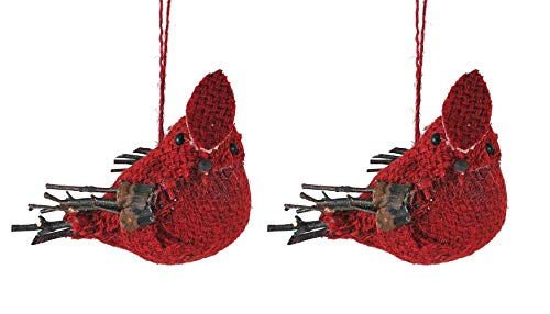 Creative Co-op Woodland Cardinal Burlap & Twig Hanging Ornaments – Set of 2