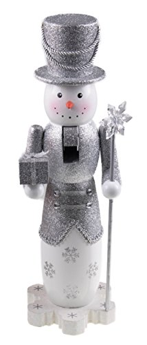 Clever Creations Tall Snowman Nutcracker Glittery Silver Outfit with Tophat | Holding Gift and Snowflake Scepter | Perfect for Any Collection | Festive Christmas Decor | 14″ Tall
