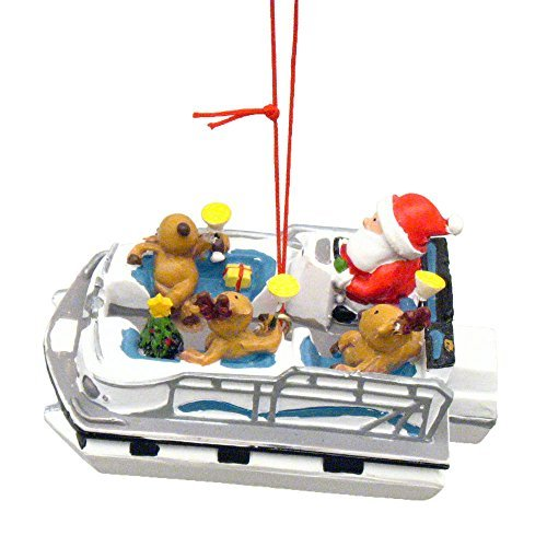 Cape Shore Santa and Reindeer Party Boat Christmas Ornament