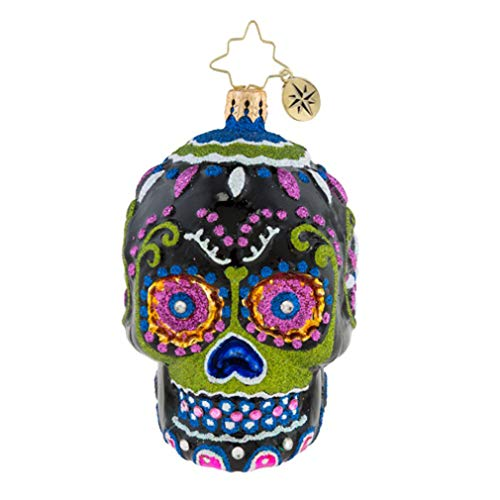 Christopher Radko Drop Dead Gorgeous Little Gem Floral 4 x 3 Blown Glass Day of The Dead Ornament