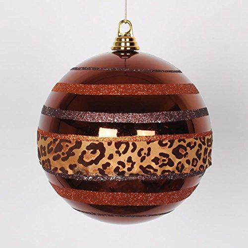 Vickerman Diva Safari Cheetah Print/Stripes Copper and Coffee Commercial Christmas Ball Ornament, 8″