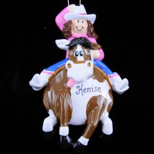 Rudolph and Me Cowgirl Rider on Galloping Horse Western Christmas Ornament Tree Decoration