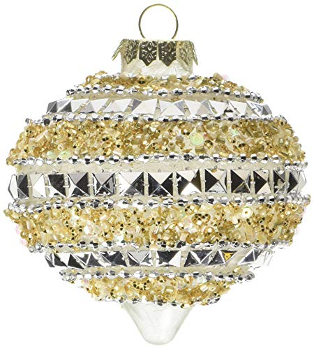 Department 56 Dazzle Beaded Gold Glass Ball, 3.15″ Hanging Ornament