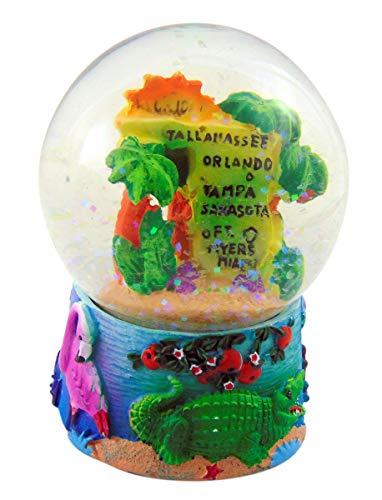 Westman Works Florida Map Snow Globe Polyresin Water Globe Handpainted Souvenir, 3 1/2 Inch
