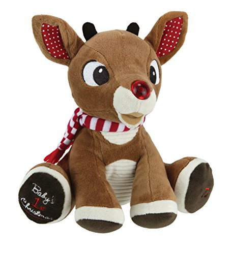 Rudolph The Red-Nosed Reindeer, Baby's First Christmas Rudolph Plush with Music & Lights, 8″
