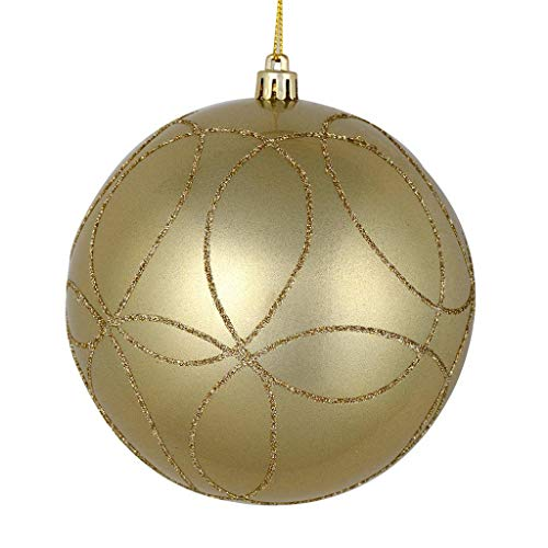 Vickerman 536735-4″ Champagne Candy Ball Circle Glitter Christmas Tree Ornament (4 pack) (N182438D)