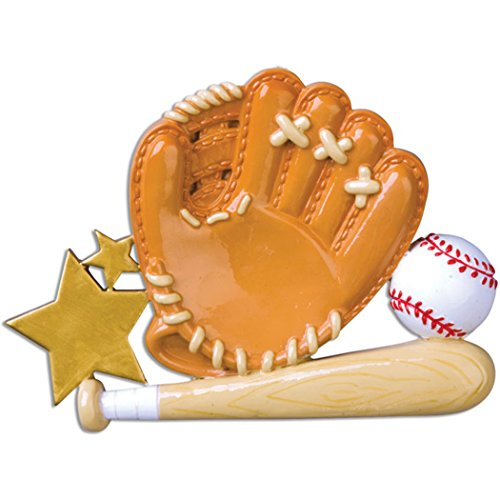Personalized Baseball Glove Christmas Tree Ornament 2019 – Brown Ball Wood Bat Score Star Coach Hobby College MLB Profession Active Team Athlete Year – Free Customization