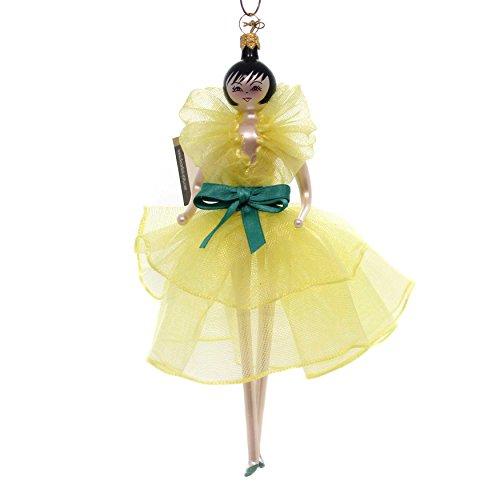 De Carlini Lady in Yellow Glass Ornament Italian Do7343