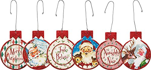 Primitives By Kathy 3 Inches x 3.25 Inches Red Santa Hanging Ornament Set Home Decor