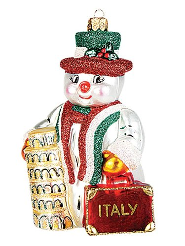 Pinnacle Peak Trading Company Italian Snowman Polish Blown Glass Christmas Ornament Italy Tree Decoration