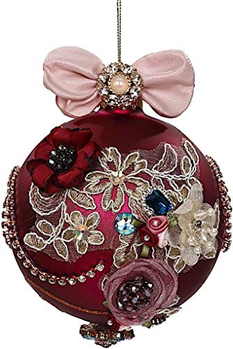 Mark Roberts Kings Jewels Ornaments Vintage Floral Jewel Burgundy Ball Ornament 4.5 Inch, 1 Each