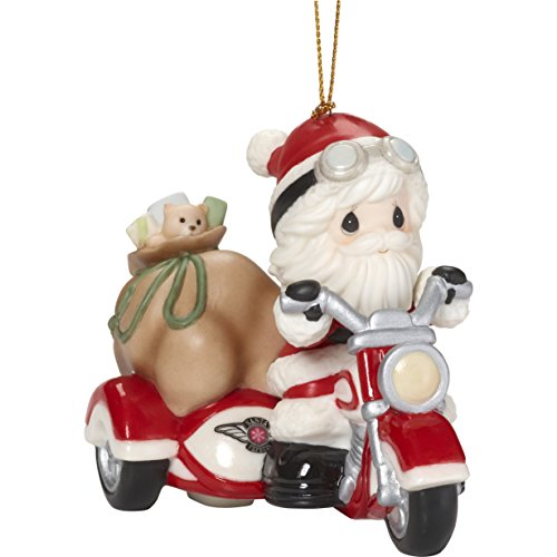 "Precious Moments""Here Comes Claus Santa On Motorcycle with Sidecar Ornament, Multicolor"