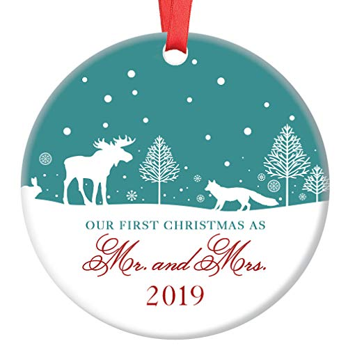 Mr & Mrs First Christmas Ornament 2019 Pretty Winter Woodland Ceramic Keepsake Newlyweds 1st Holiday as Married Couple Husband & Wife 3″ Flat Porcelain Collectible w Red Ribbon & Free Gift Box OR00129