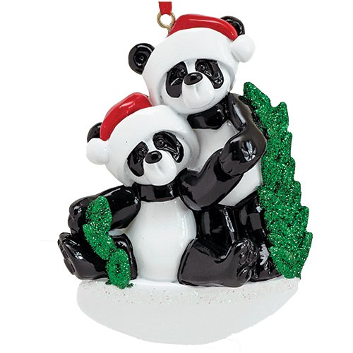 Personalized Bamboo Panda Bear Family of 2 Christmas Tree Ornament 2019 – Cute Couple Sibling Friend Santa Hat Hold Hand Glitter Green Winter Holiday Tradition Year – Free Customization (Two)
